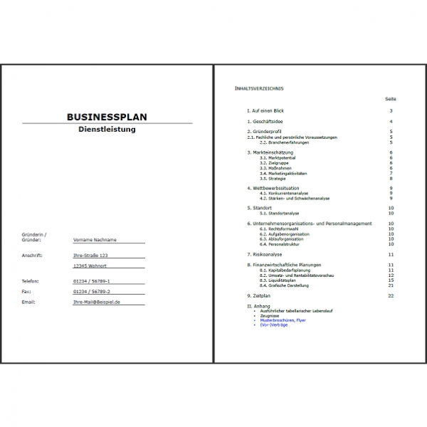 Businessplan Anlagenmechaniker